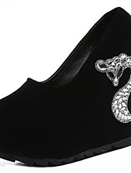 cheap -Women's Shoes Suede Spring Comfort Heels Wedge Heel Round Toe Rhinestone for Casual Black