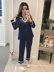 Недорогие -Женский Костюм Пижамы Средняя Искусственный шёлк Синий Красный Розовый