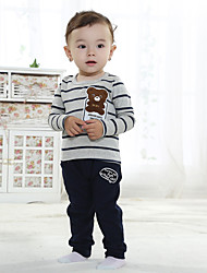 cheap -Boys' Daily Sports Striped Cartoon Clothing Set, Cotton All Seasons Long Sleeves Casual Street chic Beige Navy Blue