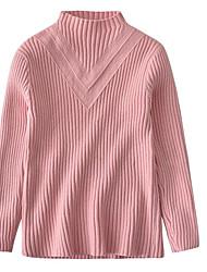 preiswerte -Mädchen Pullover & Cardigan Solide Polyester Winter Herbst Langärmelige Schwarz Rote Rosa Grau Gelb