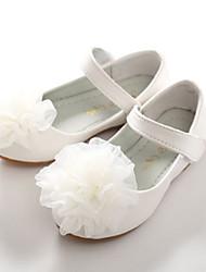 cheap -Girls' Shoes PU Spring / Fall Comfort / Novelty / Flower Girl Shoes Flats Appliques / Magic Tape for White / Pink / Wedding