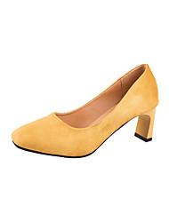 preiswerte -Damen Schuhe PU Frühling Sommer Komfort Pumps Sandalen Blockabsatz Runde Zehe Schnalle für Kleid Party & Festivität Schwarz Gelb