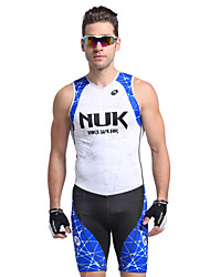 cheap -Nuckily Men's Short Sleeve Triathlon Tri Suit - Blue Geometic Bike Anatomic Design, Ultraviolet Resistant, Breathable Polyester / Spandex