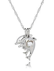 cheap -Women's Dolphin Shape Gift European Pendant Necklace Pearl Pearl Alloy Pendant Necklace Birthday Gift