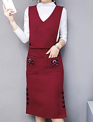 preiswerte -Damen Solide Ausgehen Einfach Kleid Langarm Rollkragen Herbst Baumwolle