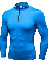 baratos -Homens Camiseta Segunda Pele - Azul, Cinzento, Azul Marinho Escuro Esportes Sólido Pulôver Exercício e Atividade Física, Exercicio Exterior, Corrida Manga Longa Roupas Esportivas Respirabilidade