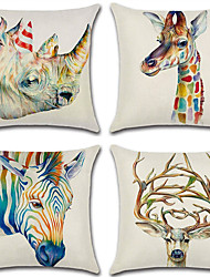 cheap -4 pcs Cotton / Linen Pillow Cover, 3D / Retro / Animal