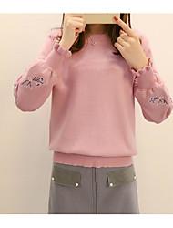 preiswerte -Damen Standard Pullover-Alltag Einfach Solide Halter Kurze Hose Polyester Japanische Baumwolle Elastan Frühling Undurchsichtig strenchy