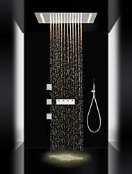 cheap -Contemporary LED Shower System Sidespray Rain Shower Handshower Included Lights Ceramic Valve Three Handles Five Holes Chrome , Shower