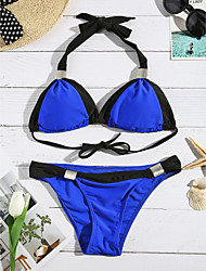 cheap -Women's Halter Bikini,Plunging Neckline / Color Block Polyester Pink / Blue / Brown / Black / Light Blue