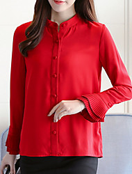 cheap -Women's Daily Chinoiserie Blouse,Solid Stand Long Sleeve Cotton Polyester