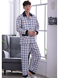 cheap -Men's Suits Pajamas,Print Polyester Gray Blue