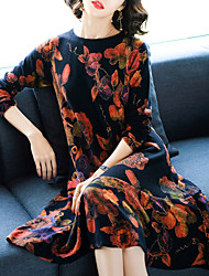 cheap -Women's Daily Street chic Sweater Dress,Floral Round Neck Midi Long Sleeve Polyester Spring Mid Waist Micro-elastic Thin