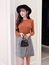 cheap -Women's Daily Above Knee Skirts,Casual Bodycon Linen Print Autumn/Fall
