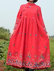 baratos -Mulheres balanço Vestido - Estampado Colarinho Chinês Longo