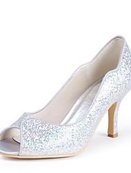 preiswerte -Damen Schuhe Paillette Frühling Sommer Pumps Hochzeit Schuhe Stöckelabsatz Peep Toe Paillette für Hochzeit Party & Festivität Silber