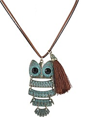 cheap -Women's Owl Leather Pendant Necklace  -  Simple Fashion Light Green Necklace For Daily