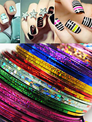 billige -24 pcs Klistermærker Nail Foil Striping Tape Kreativ Stribet Negle kunst Manicure Pedicure Daglig Chic & Moderne / Mode / Folie Stripping Tape