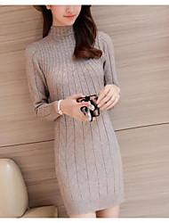 abordables -Femme Manches Longues Longue Pullover - Couleur Pleine Col Roulé