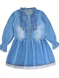 cheap -Girl's Daily Solid Dress, Cotton Spring Long Sleeves Casual Active Blue