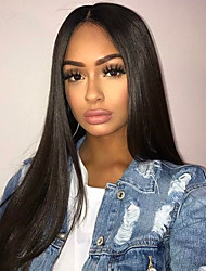 cheap -Human Hair Lace Front Wig / Glueless Lace Front Wig Peruvian Hair Straight 150% Density Natural Hairline Short / Medium Length / Long Human Hair Lace Wig