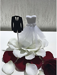 cheap -Cake Topper Wedding Classic Couple Bridal High quality paper Wedding Party with Faux Pearl Lace 1 OPP