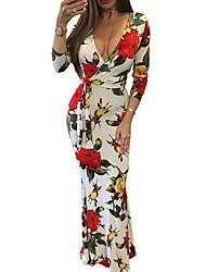 Недорогие -Повседневные На каждый день Оболочка Платье Цветочный принт,V-образный вырез Макси Длинные рукава Полиэстер Осень С высокой талией