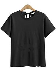 abordables -Tee-shirt Femme,Couleur Pleine Quotidien Décontracté Actif Eté Manches courtes Col Arrondi Coton Polyester Fin