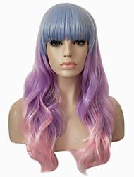 abordables -Perruque Synthétique Ondulé Ondulation naturelle Avec Frange Cheveux Colorés Violet Rose Sans bonnet Perruque Halloween Perruque de fête
