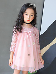 cheap -Girl's Daily Going out Solid Floral Dress, Cotton Polyester Spring Summer 3/4 Length Sleeves Cute Active Princess Blushing Pink