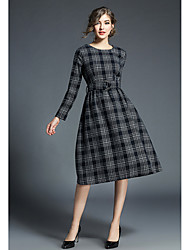 cheap -Women's Street chic A Line Sheath Dress - Check High Waist
