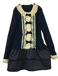 abordables -Robe Fille de Quotidien Couleur Pleine Rayures Coton Printemps Automne Manches Longues Décontracté Princesse Bleu royal