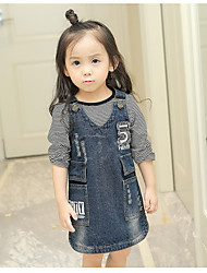cheap -Girl's Daily Holiday Flower/Floral Letter Jeans Dress,Cotton Polyester Spring Fall Sleeveless Casual Street chic Punk & Gothic Blue