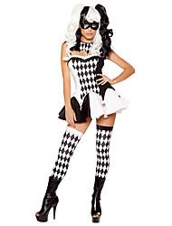 economico -Burlesque Pagliaccio Costumi Cosplay Donna Halloween Feste / vacanze Costumi Halloween Nero A quadri