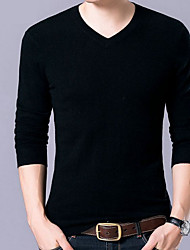 cheap -Men's Cotton T-shirt - Solid Colored V Neck