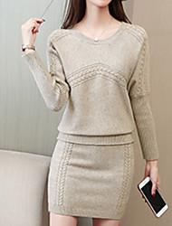 abordables -Femme Coton Set - Couleur Pleine, énorme Jupe