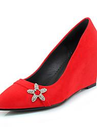 preiswerte -Damen Schuhe Vlies Frühling Sommer Komfort Pumps High Heels Keilabsatz Spitze Zehe Strass für Kleid Party & Festivität Schwarz Grau Rot
