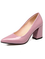 preiswerte -Damen Schuhe maßgeschneiderte Werkstoffe Frühling Herbst Pumps High Heels Blockabsatz Spitze Zehe für Kleid Rosa