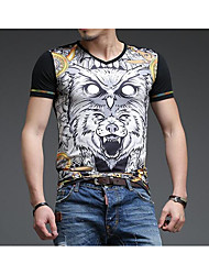 cheap -Men's Casual/Daily Street chic T-Shirt,Leopard Animal Print V Neck Short Sleeves Polyester