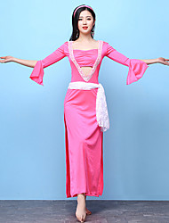 baratos -Dança do Ventre Roupa Mulheres Espetáculo Elastano Com Fenda Meia Manga Alto Vestido Cinto Decoração de Cabelo Calções