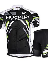 abordables -Nuckily Maillot de Ciclismo con Shorts Hombre Manga Corta Bicicleta Camiseta/Maillot Shorts/Malla corta Pantalones Cortos Acolchados Top