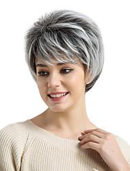 Недорогие -Парики из искусственных волос Прямой С чёлкой плотность Без шапочки-основы Жен. Белый Черный Парик из натуральных волос Короткие