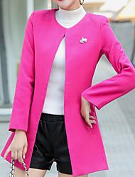 abordables -Manteau Femme - Couleur Pleine Col en V Coton énorme