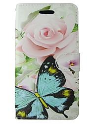 abordables -Coque Pour Huawei P8 Lite Porte Carte Portefeuille Avec Support Clapet Coque Intégrale Papillon Fleur Dur faux cuir pour
