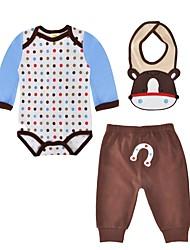 cheap -Baby Boys' Daily Polka Dot Clothing Set, Cotton Spring Fall Cute Casual Long Sleeves Light Brown