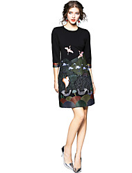 cheap -Seduction Gold House Women's Holiday Street chic Shift Dress - Animal