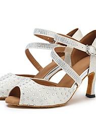 preiswerte -Latin Tüll Sandalen Absätze Pailetten Farbaufsatz Maßgefertigter Absatz Silber Maßfertigung
