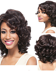 cheap -Synthetic Wig Curly / Deep Wave Synthetic Hair Natural Hairline Brown Wig Capless