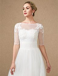 cheap -Half Sleeves Lace Tulle Wedding Party / Evening Women's Wrap With Applique Buttons Lace Shrugs