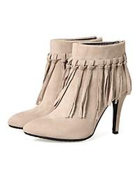 baratos -Mulheres Sapatos Pele Nobuck Primavera / Outono Botas da Moda Botas Salto Agulha Dedo Apontado Botas Curtas / Ankle Preto / Cinzento